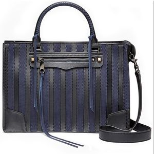 Rebecca Minkoff Regan Satchel Navy Suede Stripe